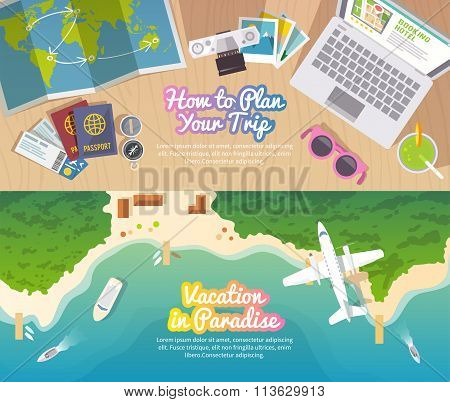 Vector travel web banner
