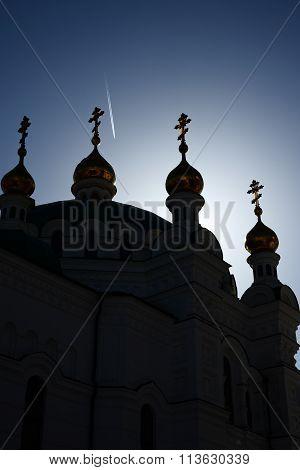 The Refectory Church silhouette, Kyiv Pechersk Lavra, Ukraine