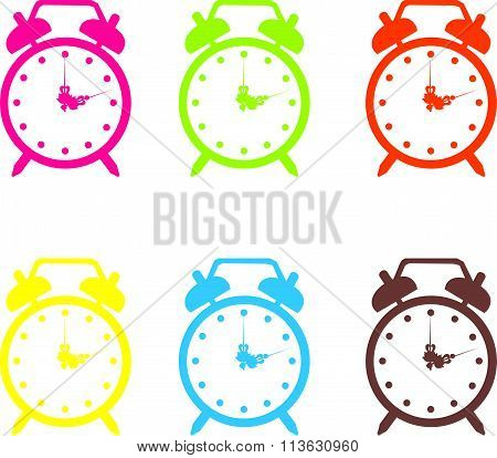 Set vector illustration of a alarm clock.