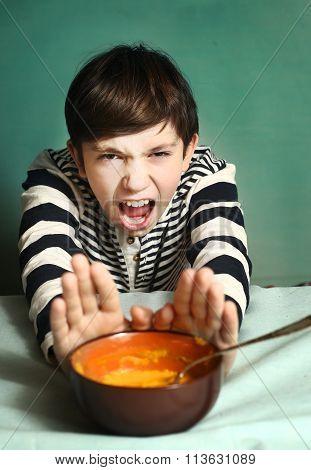 Boy Refuse To Eat Pumpkin Cream Soup