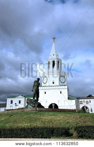 Spasskaya Tower Of Kazan Kremlin And Monument To Musa Jalil In Kazan