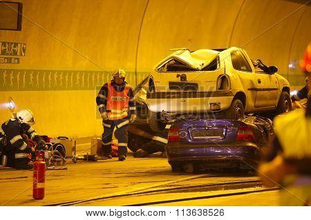 CZECH REPUBLIC, PLZEN, 30 SEPTEMBER, 2015:Rescue team working on a car crash
