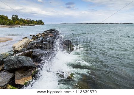 wave break of rocks along the shore