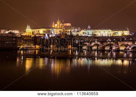 Prague Skyline At Night In The Winter