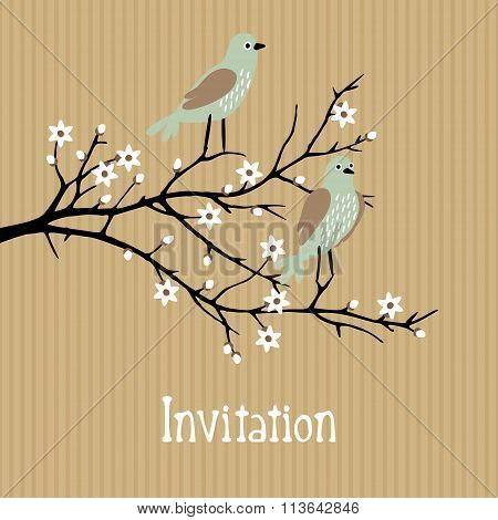 Beautiful Spring Vector Background With Birds On Cherry Blossom Branch