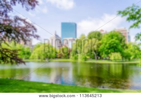 Defocused Background Of The Boston Public Garden
