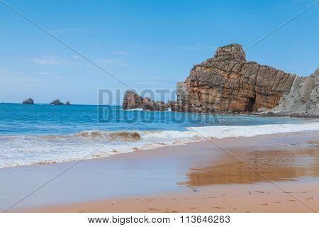 The beach of  Portio in Liencres, Cantabria, Spain