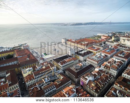 Aerial View of Commerce Square and Baixa Chiado, Lisbon, Portugal