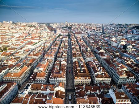 Aerial View of Baixa Chiado and Lisbon Skyline, Portugal