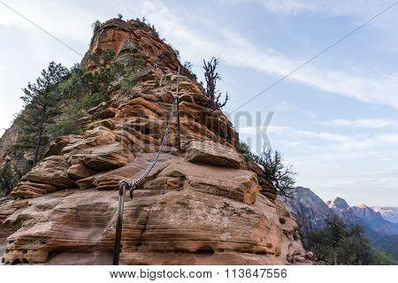 Angel's landing rock formation Zion National Park Utah.