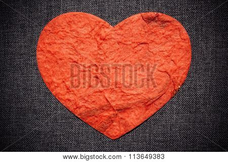 Red Heart On A Dark Wall, Valentine Background