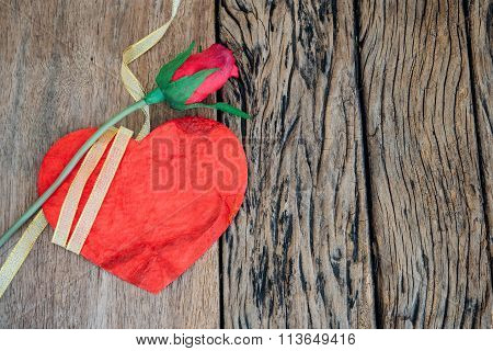Red Heart With Rose On Wooden Background.