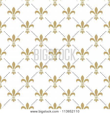 Fleur de lis seamless vector pattern. French vintage stylized lily luxury symbol.