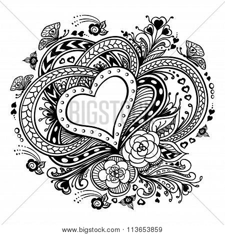 Zen-doodle Heart frame with flowers butterflies   black on white