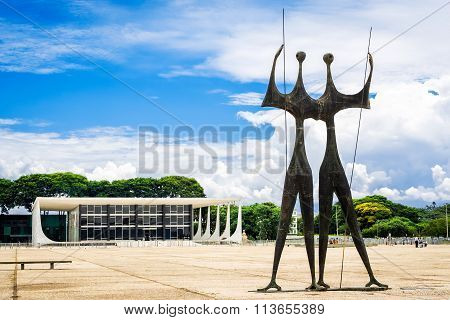 Dois Candangos Monument In Brasilia, Capital Of Brazil