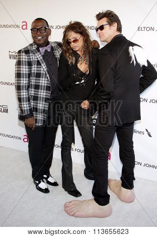 Randy Jackson, Steven Tyler and Jim Carrey at the 21st Annual Elton John AIDS Foundation Academy Awards Viewing Party held at the West Hollywood Park in Los Angeles, USA on February 24, 2013.
