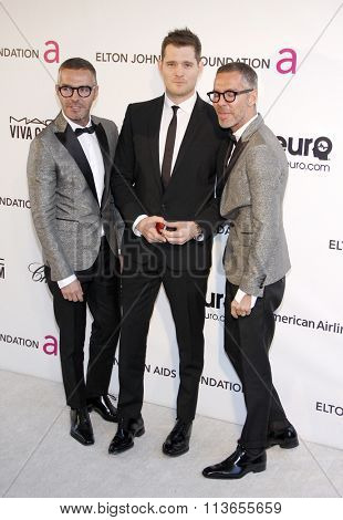 Dan Caten, Dean Caten and Michael Buble at the 21st Annual Elton John AIDS Foundation Academy Awards Viewing Party held at the West Hollywood Park in Los Angeles, USA on February 24, 2013.