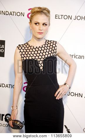 Anna Paquin at the 21st Annual Elton John AIDS Foundation Academy Awards Viewing Party held at the West Hollywood Park in Los Angeles, USA on February 24, 2013.