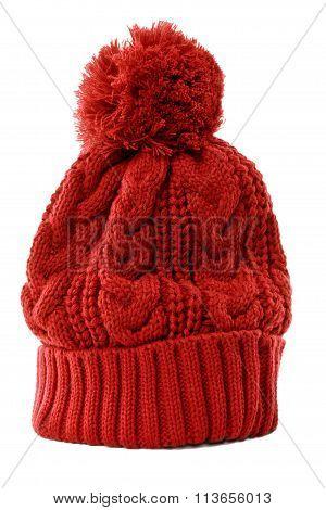 Red winter knit Hat or ski hat