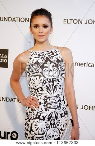 Nina Dobrev at the 21st Annual Elton John AIDS Foundation Academy Awards Viewing Party held at the West Hollywood Park in Los Angeles, USA on February 24, 2013.