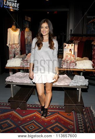 Lucy Hale launches her first fashion collection held at the Hollister Store Westfield Century City in Los Angeles, USA on August 9, 2014.
