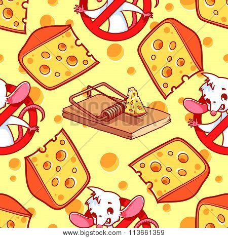 Seamless Pattern With A Slice Of Cheese, Mouse Inside Red Prohibitory Sign And Mousetrap On A Light