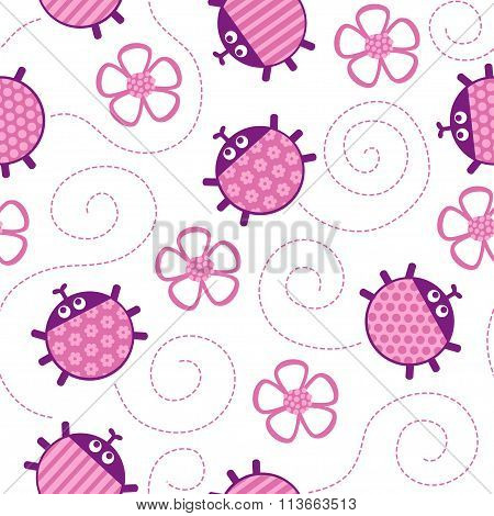 ladybugs and flowers pink seamless vector pattern.