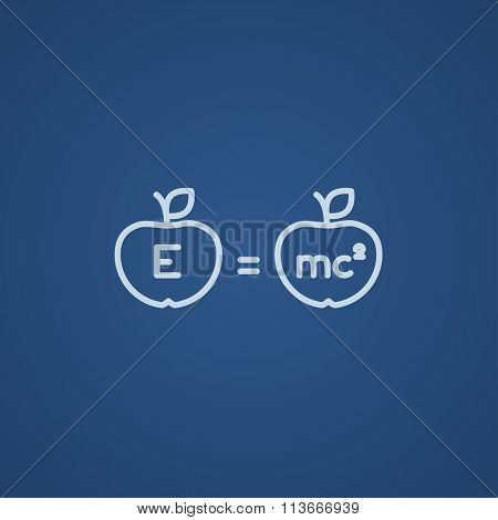 Two apples with formulae line icon.
