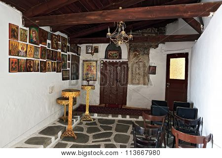The Interior Inside A Small Chapel In Greece