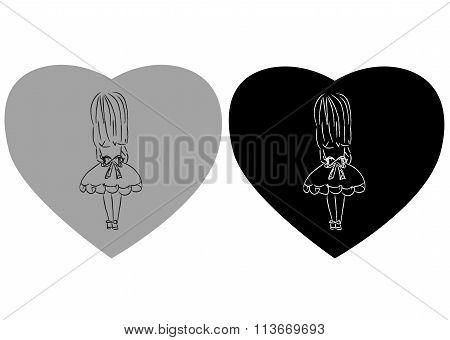 Cute little girl holding heart. VEctor doodles illustration art