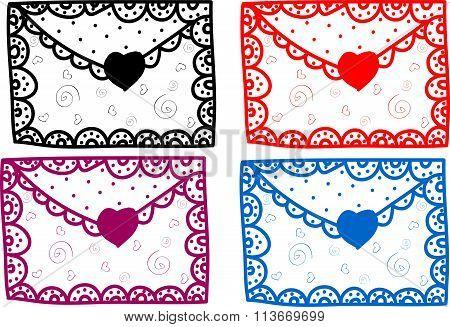 Set of love Valentine message art illustration cute