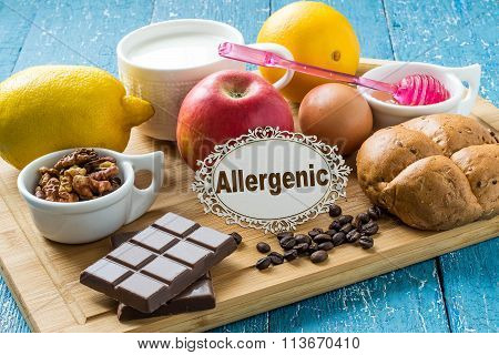 Concept of food allergies. Set of products that cause allergies: citrus, red fruits and berries, eggs, milk, white bread, nuts, chocolate, coffee, honey poster