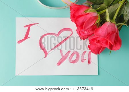 Letter With Love Note, Red Rose  With Hearts