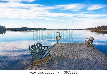Pier With Benches At The Lake