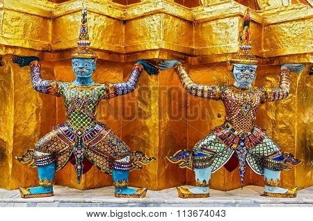 Sculptures Of Rakshasa In Thailand