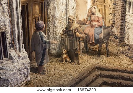 Christmas Nativity Scene. Mary And Joseph's Search For A Place To Stay