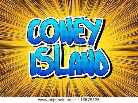 Coney Island - Comic Book Style Word.