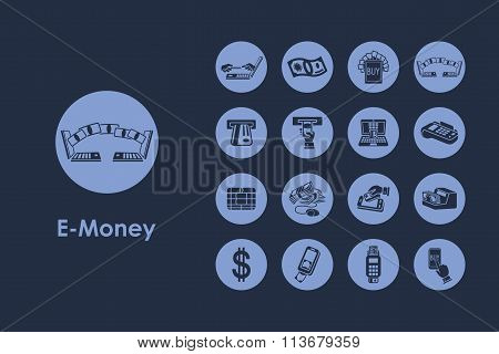 Set of e-money simple icons