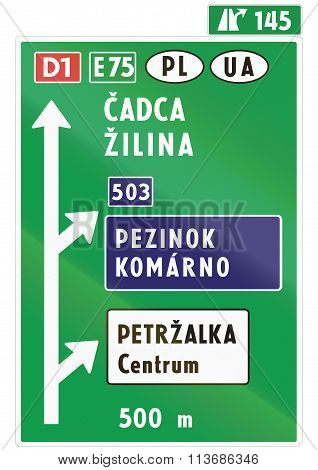 Road Sign Used In Slovakia - Direction Sign