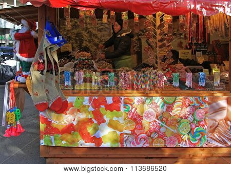 stand with christmas sweeties at the fair in Bergamo, Italy