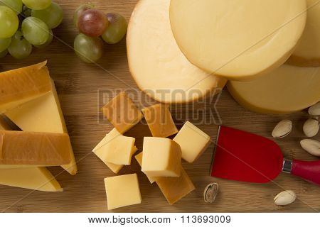 Italian Provolone On Wooden Board