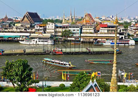 On The Chao Phraya River In The Center Of Bangkok