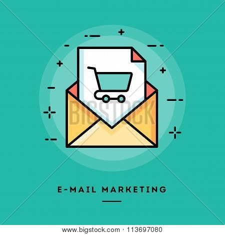 E-mail Marketing, Flat Design Thin Line Banner