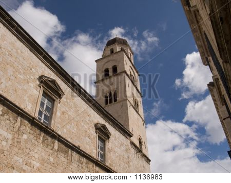 the old town dubrovnik showing bell tower