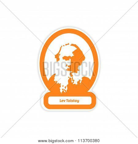 paper sticker on white background Lev Tolstoy