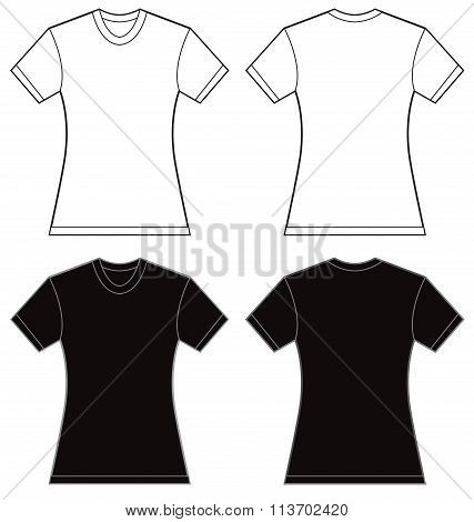 Black White Women's Shirt Design Template