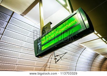 Malmo, Sweden - January 3, 2015: Display Notification On A Train To Copenhagen At The Metro Station