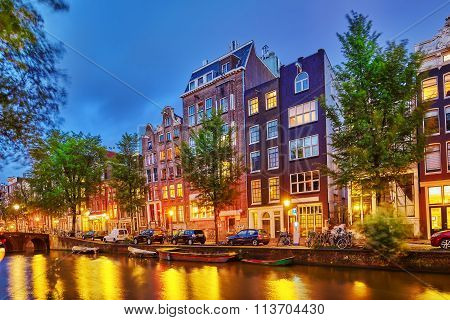 Amsterdam, Netherlands-september 15, 2015:beautiful Amsterdam City, Canals At The Evening Time.