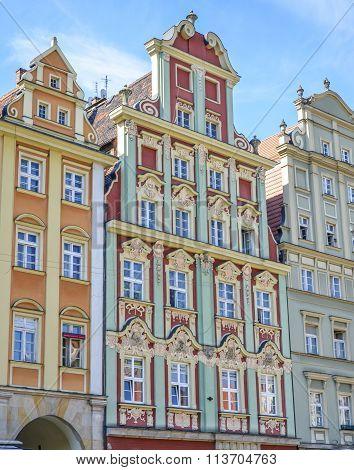 Architectue of the Market square in Wroclaw Poland.