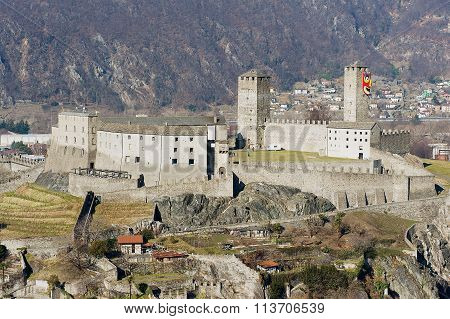 View to the Castelgrande castle in Bellinzona, Switzerland.